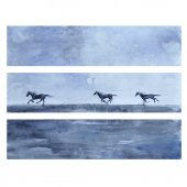 Horse hand drawn watercolor vector abstract illustration horizontal banner with horses race wild animal template greeting card web sites printing advertising decorative wallpaper background