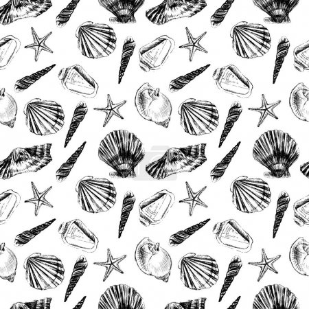 Seashells hand drawn vector graphic etching sketch isolated on white background, seamless pattern, underwater artistic marine texture, design for greeting card, decorative textile, water fabric, paper