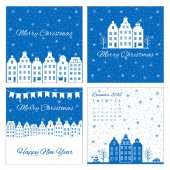 Collection of templates for Christmas and New Year greeting card Vector illustration Blue and white color Design for label banner poster with colorful european building snowflakes flag and text