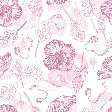Illustration for Poppy flower, bud, leaf vector engraving sketch hand drawn isolated on white, floral seamless pattern, romantic style for greeting card, package cosmetic, wedding invitations, florist shop, wallpaper - Royalty Free Image