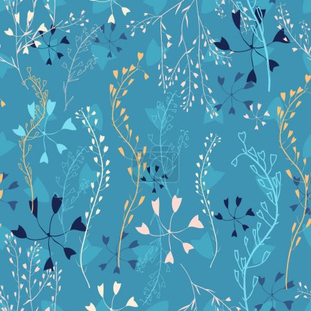 seamless pattern with capsella flowers