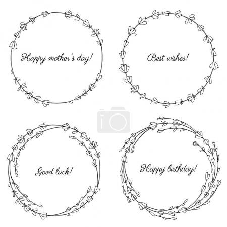 Illustration for Set of round lavender wreaths, vector illustration - Royalty Free Image