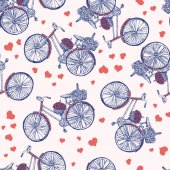 Seamless pattern Bicycle hand drawn vector sketch ink illustration old bike with floral basket hearts isolated on light background vintage decor texture for design invite greeting card textile