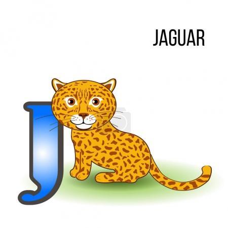Cute Zoo alphabet J with