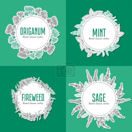 Willow herb, fireweed, rosebay, Blossoming oregano, sage, mint hand drawn sketch vector isolated on white, Round frame, wreath for card, label, sticker, invitation, packaging tea, cosmetics, medicine