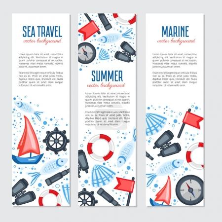 Vertical marine vector banner, cartoon illustration, Red flag, s