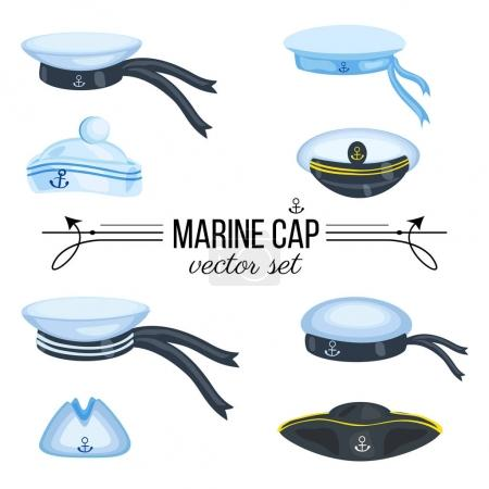 Marine caps, sailor hat, peaked cap with cockade, nautical badge with anchor, panama with bell, cocked hat isolated on white background, cartoon vector illustration cloth design, sea symbol accessory