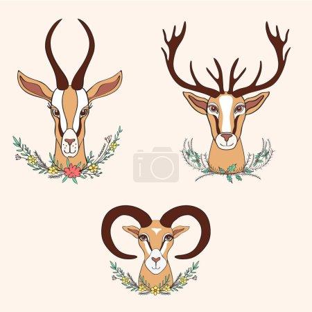 Decorative Gazelle, Deer, Ram graphic hand drawn vector cartoon