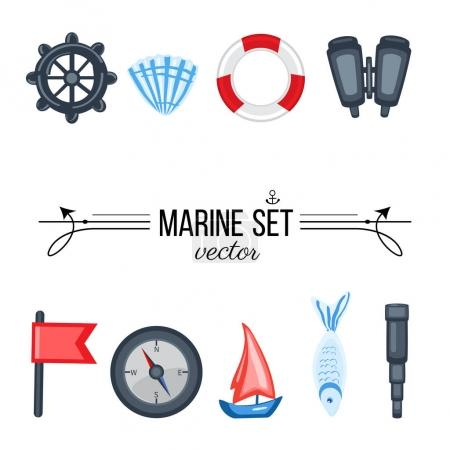 Illustration for Marine set red flag, steering wheel, compass, ship, seashell, fish, binoculars, spyglass isolated on white background, decorative vector sea colorful elements for design advertising, greeting card - Royalty Free Image