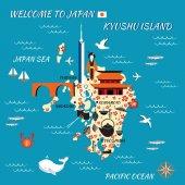 Japan cartoon travel map Kyushu island vector illustration landmark Fukuoka tower Confucius temple Bridge Meganebashi japanese symbol sakura umbrella fan traditional food sushi bamboo kimono