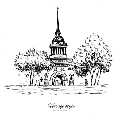 Admiralty spire of Saint Petersburg landmark, Russia, hand drawn engraving vector illustration isolated on white, vintage style ink sketch building for touristic postcards, poster, calendar template