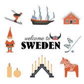 Swedish vector traditional symbols Vasa Sailer Tomtar elf Dalecarlica horse Dalarna horse skis skates red house candles viking helmet isolated on white decorative set travel icons flat style
