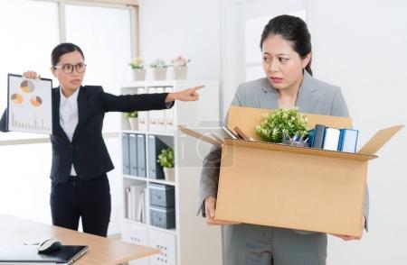 beautiful elegant office worker girl feeling fear