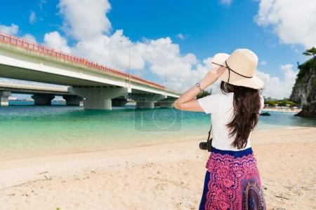 Girl looking Naminoue beach view.