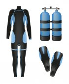 Equipment for diving Scuba gear and accessories 01 Suit air tank and flippers