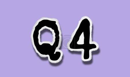 Photo pour Q4  - Flat Tattered Paper Word on Lilac Background - Concept Graphic Symbol Illustration - image libre de droit