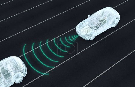 self driving electronic computer cars on road