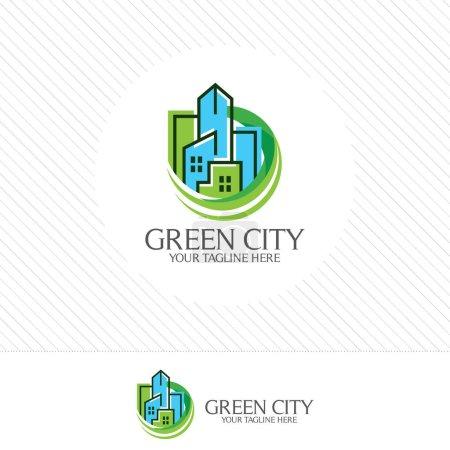 Illustration pour Vecteur de conception de logo de ville verte. Symbole icône du paysage résidentiel, appartement et ville. Propriétés bâtiment vecteur . - image libre de droit