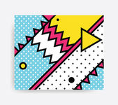 Colorful Pop art geometric pattern with bright bold blocks squiggles Colorful Material Design Background in Pink Yellow Blue Black and White Prospectus poster magazine broadsheet leaflet book