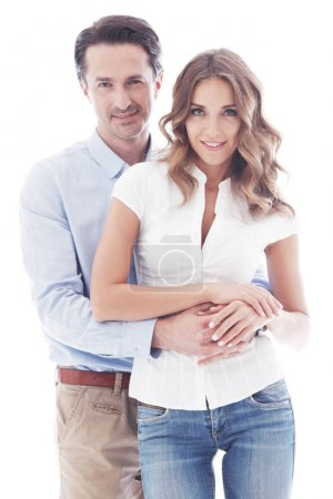 Photo for Portrait of happy couple isolated on white background - Royalty Free Image