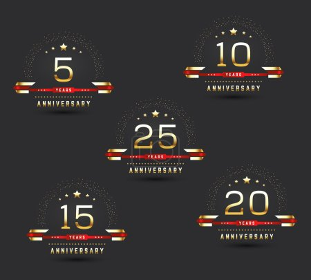 Anniversary logo set. 5th, 10th, 15th, 20th, 25th anniversary logotypes with golden elements. Vector illustration.