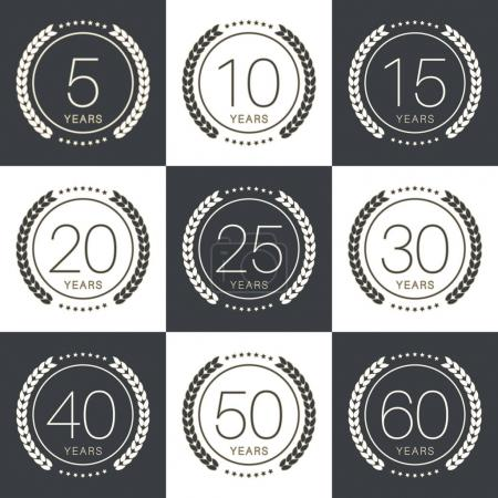 Anniversary logo's collection with laurels. Vector...
