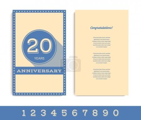 Anniversary invitation/greeting card template. Vector illustration.