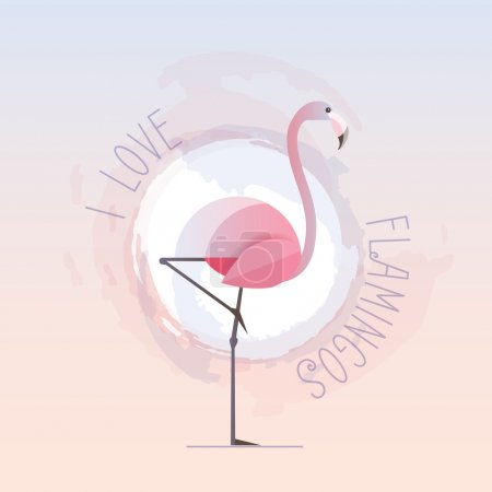 I love flamingos text and flamingo