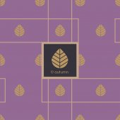 Elegant autumn leaves icons on purple background