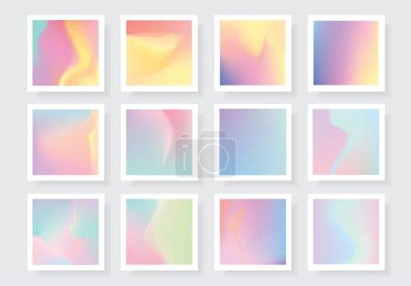 Illustration pour Collection de textures holographiques vectorielles vibrantes colorées - image libre de droit