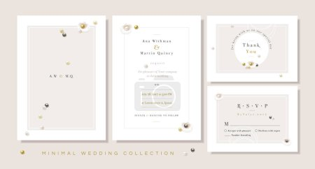 Illustration for Minimal wedding templates collection, invitation front and back, thank you card and rsvp in soft color hues with seashells and gemstone pearls - Royalty Free Image
