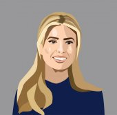 Dec 2017: Vector portrait of Ivanka Trump - American television personality fashion designer author and businesswoman who is an advisor to the President of the United States Donald Trump