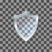 Vector glass shield Defense icon Protection concept