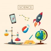 Set of science logo Cartoon vector illustration Education theme Icon collection School and university Laboratory facilities Physics chemistry astronomy and geography Galaxy Rocket ship