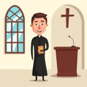 Young catholic priest Cartoon vector illustration
