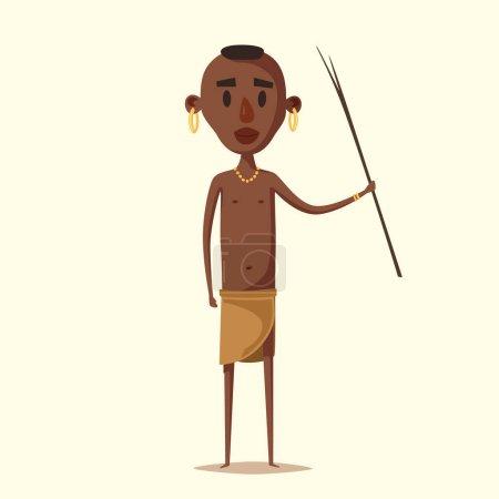 African man. Indigenous south American. Cartoon vector illustration.