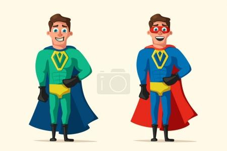 Illustration for Superhero in uniform. Cartoon vector illustration. Good man. Hero character. Muscular body. Person in cloak. Justice and help. For banners and posters - Royalty Free Image