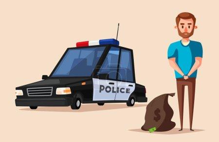 Illustration pour La bannière de la police. Illustration vectorielle de dessin animé. Criminelle menottée. Arrestation du voleur - image libre de droit