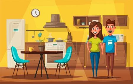 Illustration for Kitchen interior. Cartoon vector illustration. Table, stove, cupboard, cooker and fridge. Home indoor, kitchen appliances furniture. Cooking banner. For web and print - Royalty Free Image