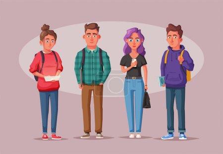 Illustration pour Heureux étudiants avec des livres et des gadgets. Joyeux, belles filles et les gars avec des sacs à dos. Illustration vectorielle de bande dessinée - image libre de droit