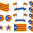 Catalonia flag set. Collection of symbols heart an...