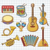 Musical instruments Design set Monochrome vector