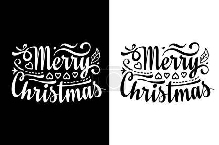 Illustration pour Joyeux lettrage de Noël. Style vintage. Illustration monochrome, noir et blanc. Des silhouettes. Graphiques plats . - image libre de droit
