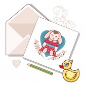 Card with envelope on a white background Vector