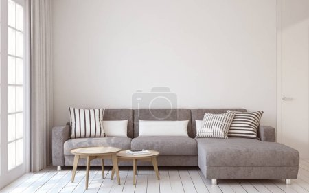 Photo for Living-room interior in scandinavian style 3d render. - Royalty Free Image