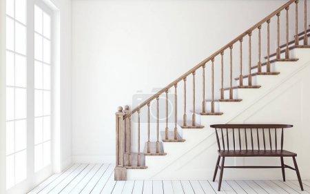 Photo pour Intérieur du couloir avec escalier de bois. Maquette du mur. rendu 3D. - image libre de droit