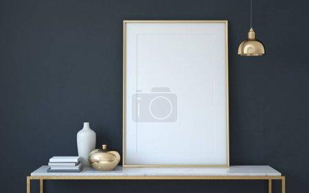 Photo for Frame mockup. Interior with large frame. 3d render. - Royalty Free Image