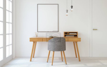 Photo for Interior of home office in scandinavian style. Mock-up interior with poster. 3d render. - Royalty Free Image