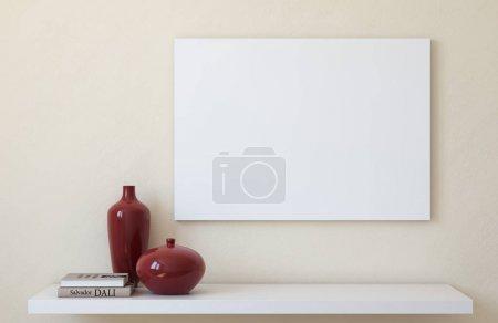 Photo pour Une maquette en toile. Intérieur avec grande toile de paysage. 3d rendu . - image libre de droit