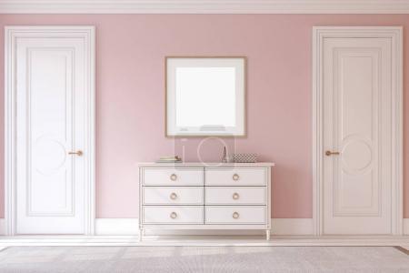 Photo for Modern hallway. White dresser near pink wall. Frame mockup. 3d render. - Royalty Free Image
